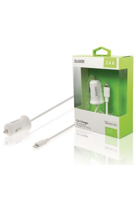 CHARGEUR allume-cigares 2.4 A Apple Lightning Blanc