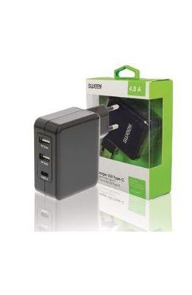 CHARGEUR Secteur 3-Outputs 4.8 A 2 x USB / USB-C™ Noir